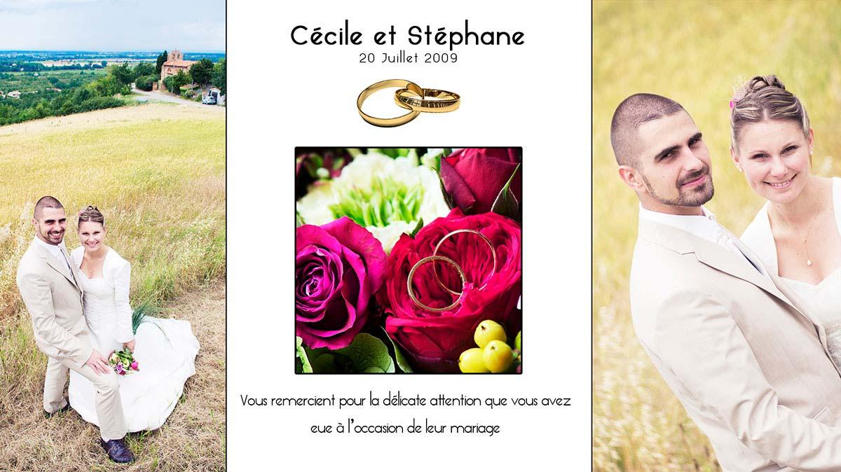 carte de remerciement mariages